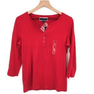 NEW Karen Scott Henley long sleeve t-shirt top casual top holiday Red S women's